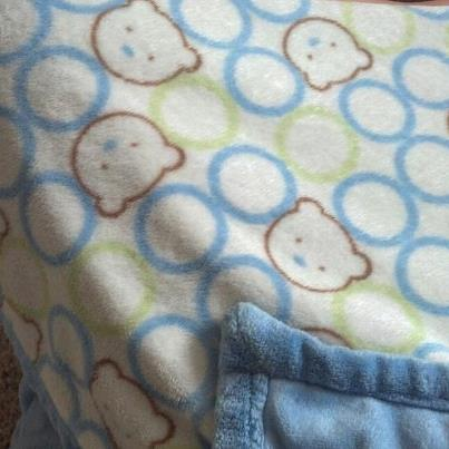 Blue with green, brown, and blue circles (bear heads) blankie