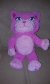 "12"" two color pink cat with embroidered blue eyes - *Approximately 12"