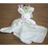 Blanket & Beyond Bunny Lovey Green with White Polka Dots - I am looking for a bunny lovey blanket made by Blanket and Beyond.  It has a white head and green blanket with white polka dots.