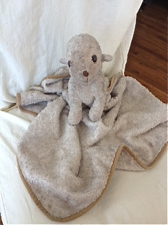 Cream Lamb Attached To Blanket