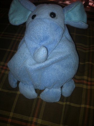 Blue Elephant With One Eye Is Broken Stitching On Neck