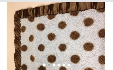 Carters Just One Year brown and pink polka blanket with satin trim