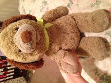 90s Oatmeal Colored Bear Dog With Red Bow Tie