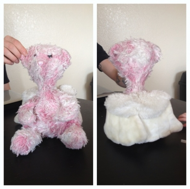 Pink Stuffed Bear With White Angel Wings