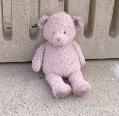 "very well-loved, pink Gund ""My First Teddy"""