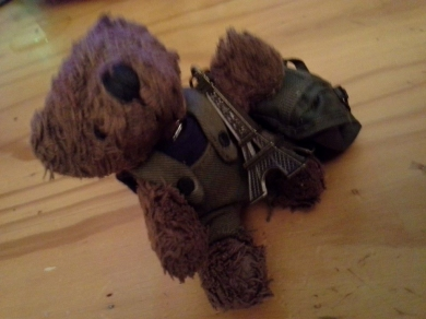 10cm Small Brown Bear In Purple Top Green Coveralls And