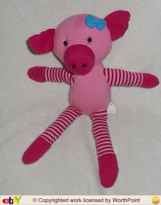 Old Navy Pink Pig Plush Stuffed Toy Stripes Blue Bow 2008