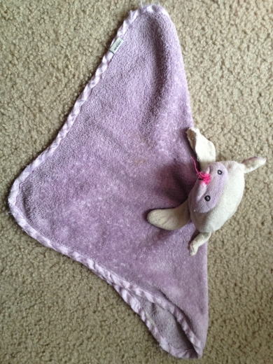 Purple And White Lamb Lovey With Pink Nose Fleece Like