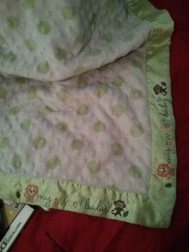 White Minky Blanket With Green Polka Dots
