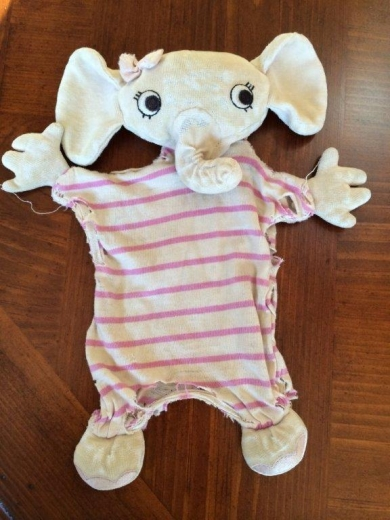 Stripped Pink Elephant With Stuffed Head And Feet