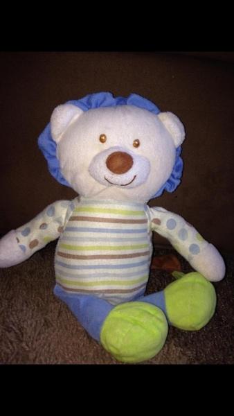 Soft Bear Green Blue Polka Dots And Pin Stripes