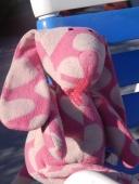 pink polka dot plush bunny, was wearing bathing suit!