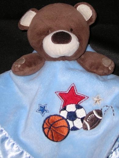 Circo Brown Teddy Bear Blue Satin Stars Sports Security