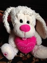 Yellowish sitting dog with pink heart tongue and nose heart on right