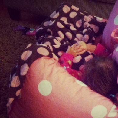 Brown Blanket With Pink Jumbo Dots