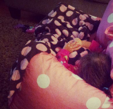 Brown Blanket With Pink Polka Dots