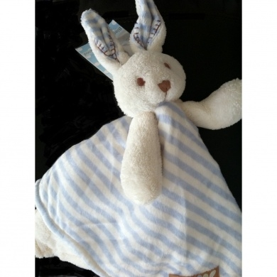 Blankets And Beyond Blue Amp White Striped Bunny Security