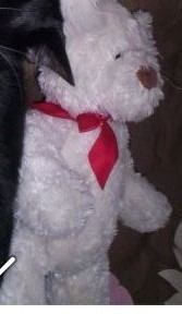 Lost Grund Bear White With Red Ribbon