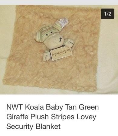 Tan And Green Giraffe Security Blanket Koala Brand