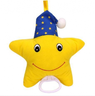 Yellow Star Baby Bed Hanging Rattle Plush Toys