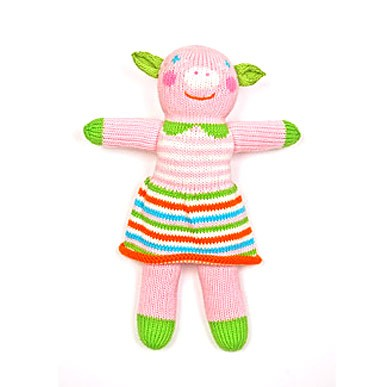 Blabla doll  orange/pink/green coloring-stripes-pig type soft knit doll 12&#8221; - Blabla Rosalie Doll-pig-type knit doll. 12