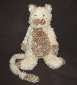 Jellycat Bunglie Cream Kitty with brown tummy - Cream kitty about 12
