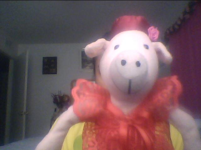 o.p.i pink pig - my pig measures 10 inches, has a red silk hat with a pink rose to its left, a red lacy dress and red silk heels with the words opi on the bottom of each shoe !