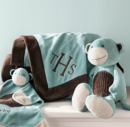 Restoration Hardware Aqua Monkey Security Blanket - My nephew lost his security blanket on a recent trip to San Antonio. It is a Restoration Hardware Aqua Monkey Security Blanket. It is the blanket shown in the far left side of the attached photo. Thanks!