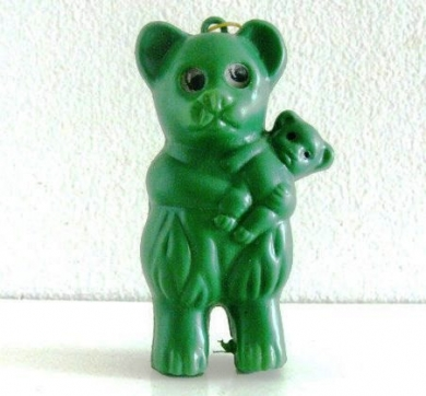 Small Green 1960s Carnival Toy Green Plastic Bear On String