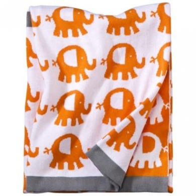 Orange And White Circo Elephant Blanket