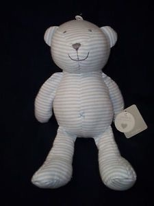 Blue And White Stripe Teddy Bear