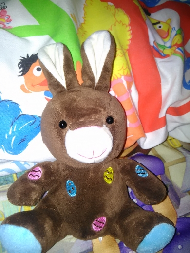 Brown stuffed bunny with embroidered easter eggs - Walmart brand