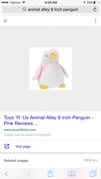 Penguin with white belly, stuffed, toys r us