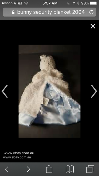 Gerber Baby Plush White Bunny Rabbit Blue Satin Clutch Security Lovey