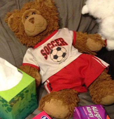 Brown build-a-bear with Blackhawks hockey jersey