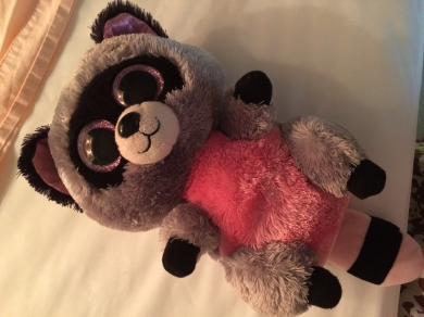 Pink, grey, and black raccoon beanie boo