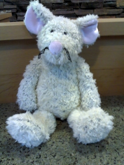 Large off-white cuddly MOUSE  with pink nose and ears, black whiskers.