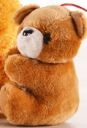 Little brown keychain bear with white muzzle and black nose
