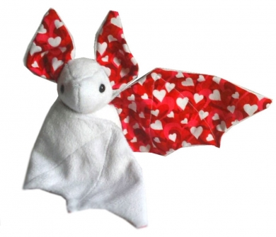 White Plush bat with heart ears & wings