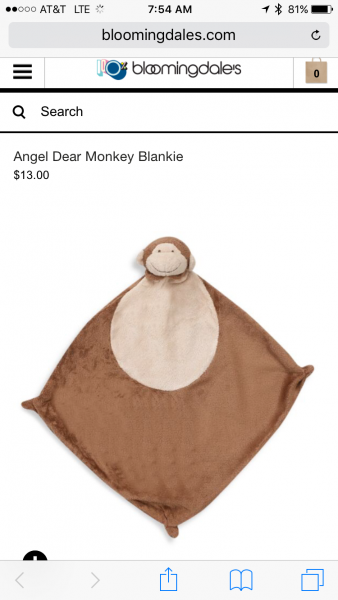 Brown monkey lovey with Joshua emboridered