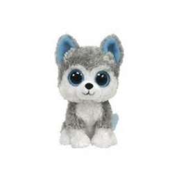 Husky beanie baby Blue on inside of ears Tag name of Slush Gray fur Back is a little wet was dog toy