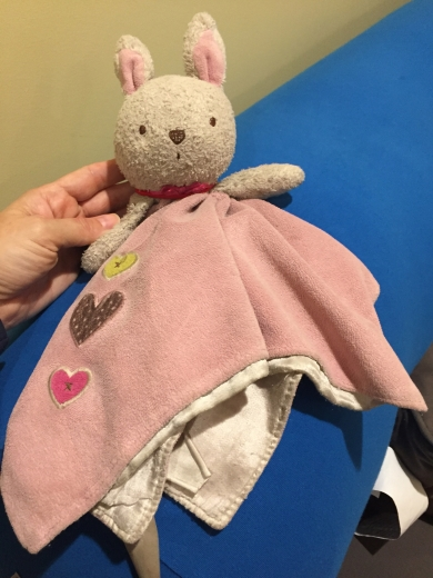 Bunny Blanket Lovey - pink skirt with hearts, white head