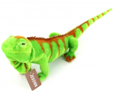 Neon green lizard/reptile with scales, split heart tongue and puppet mouth