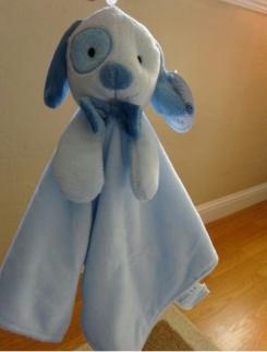 Honey bunny security blanket blue dog