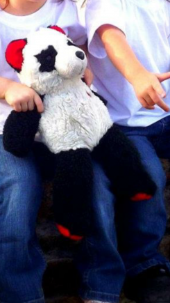 Panda bear with red ears and feet and hard heart on right side
