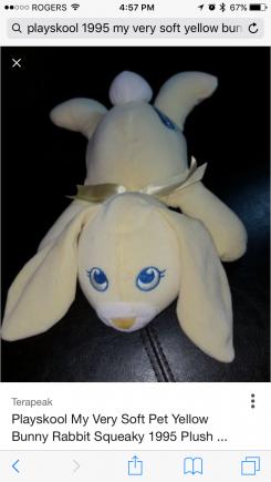 Playskool yellow bunny, laying down