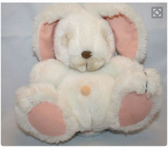 """9"""" White sleeping bunny with a stuffed belly button"""