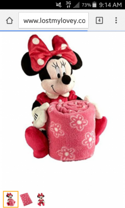 Pink Minnie mouse blanket with white flowers