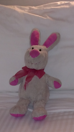 White bunny with pink ears and a pink ribbon