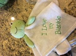"""I love my blankie"" frog snuggle buddy"